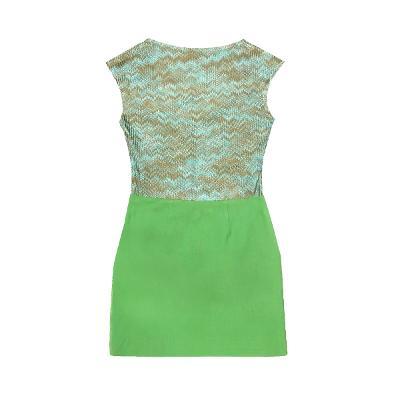 sleeveless top green & front zipper skirt